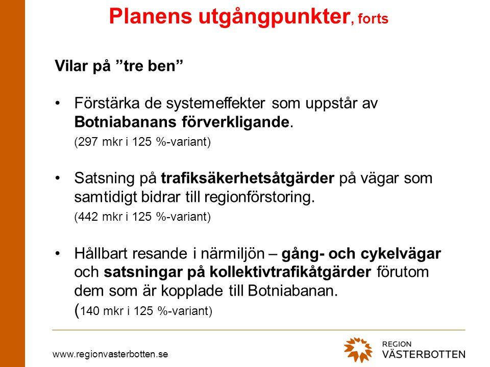 www.regionvasterbotten.se Planens utgångpunkter, forts •Relativt stor avsättning till potter, vilket medger flexibilitet under planens genomförande.