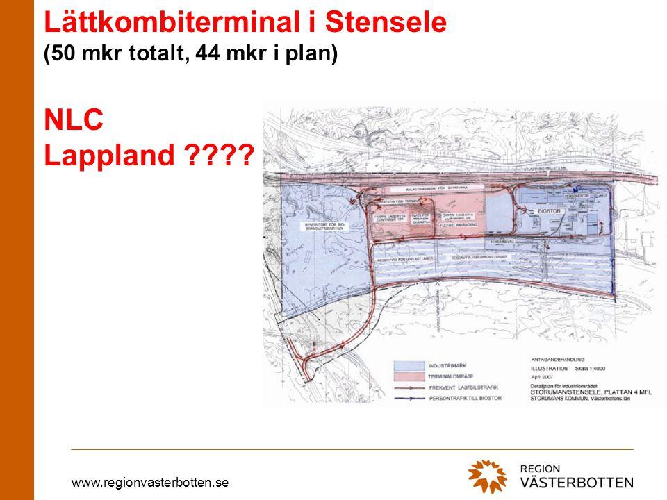 www.regionvasterbotten.se Lättkombiterminal i Stensele (50 mkr totalt, 44 mkr i plan) NLC Lappland