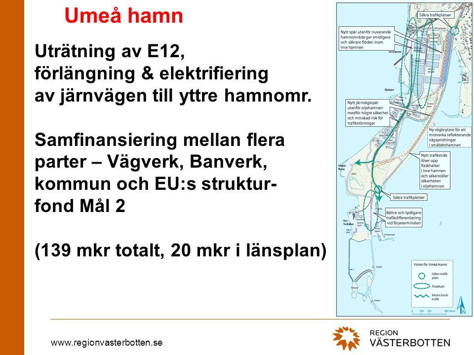 www.regionvasterbotten.se Umeå hamn Uträtning av E12, förlängning & elektrifiering av järnvägen till yttre hamnomr.