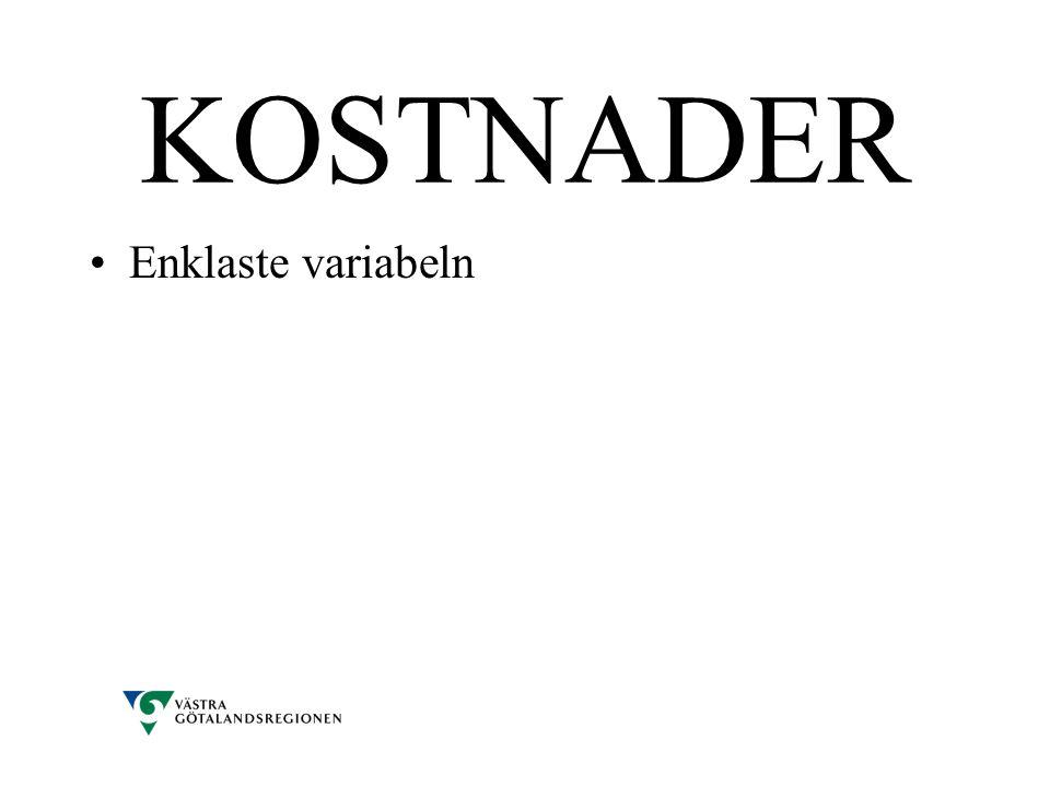 KOSTNADER •Enklaste variabeln
