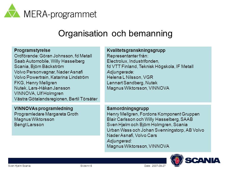 Date: 2007-09-27Sven Hjelm Scania Slide nr:5 Organisation och bemanning Samordningsgrupp Henry Mellgren, Fordons Komponent Gruppen Blair Carlsson och