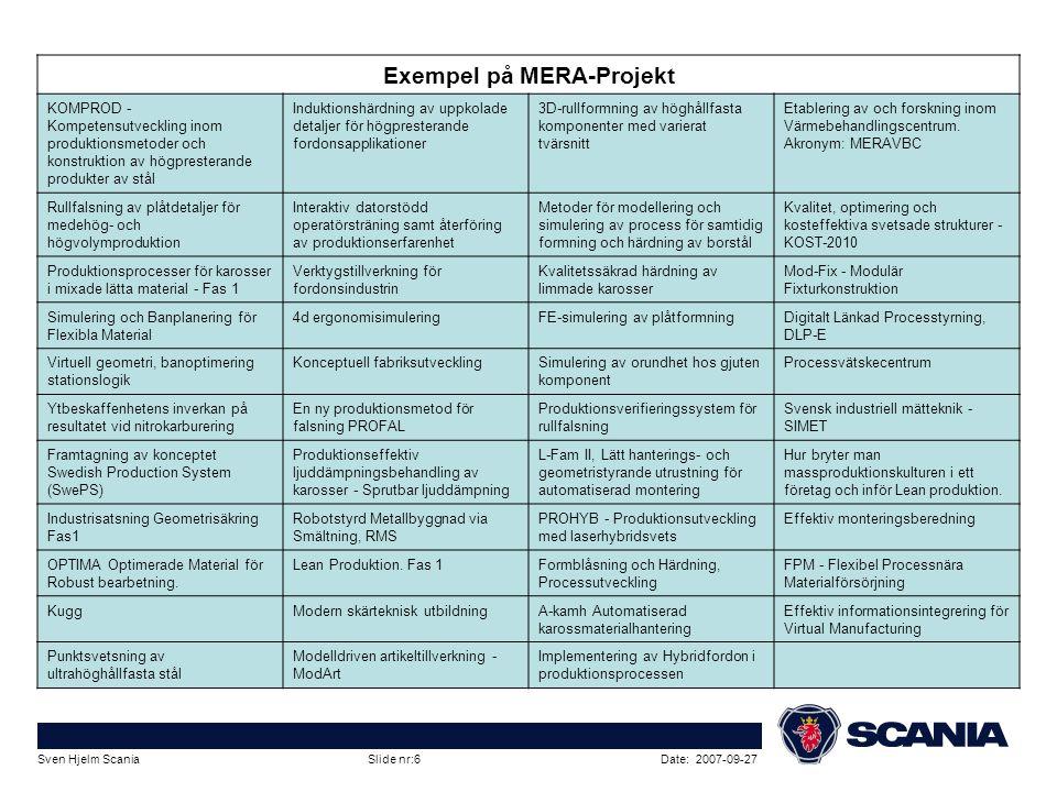 Date: 2007-09-27Sven Hjelm Scania Slide nr:6 Exempel på MERA-Projekt KOMPROD - Kompetensutveckling inom produktionsmetoder och konstruktion av högpres