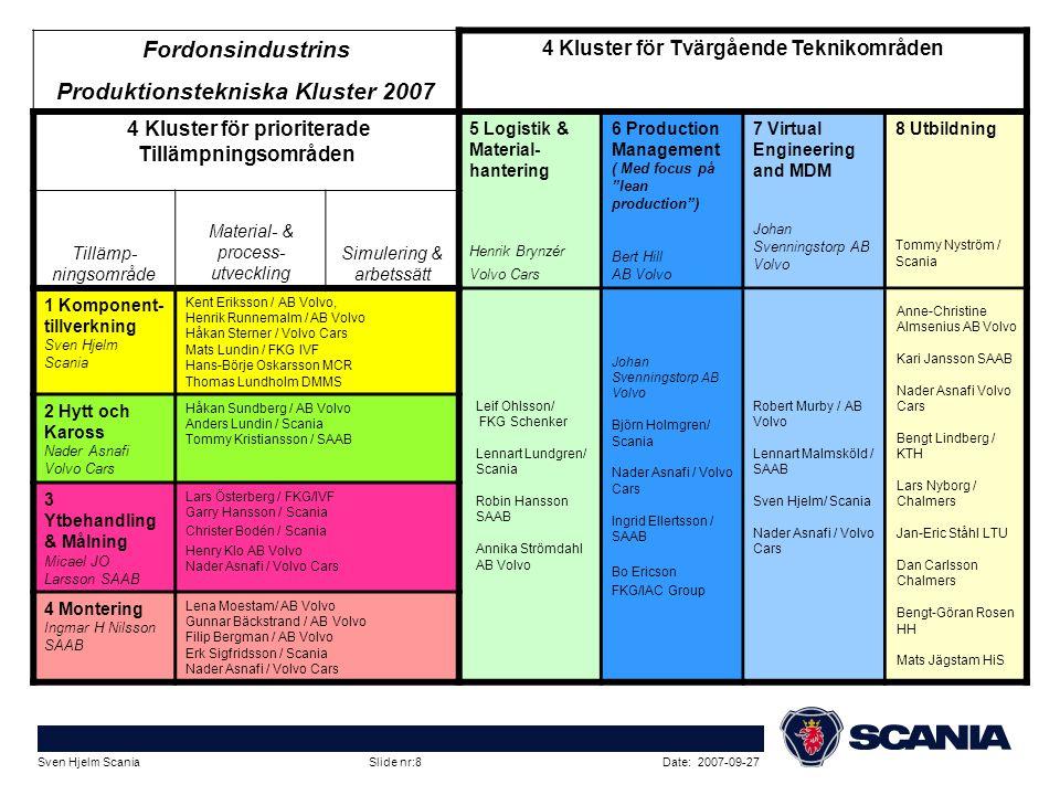 Date: 2007-09-27Sven Hjelm Scania Slide nr:8 Fordonsindustrins Produktionstekniska Kluster 2007 4 Kluster för Tvärgående Teknikområden 4 Kluster för p