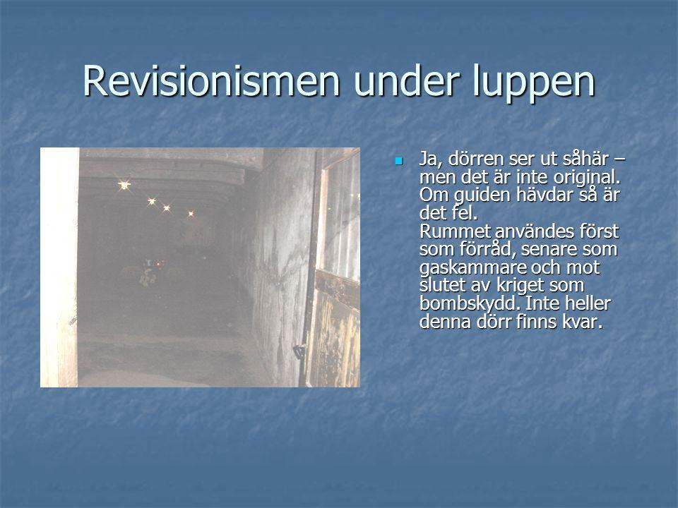 Revisionismen under luppen  Ja, dörren ser ut såhär – men det är inte original. Om guiden hävdar så är det fel. Rummet användes först som förråd, sen