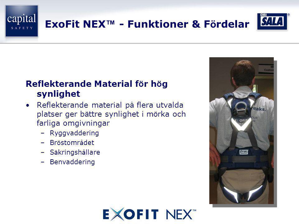 ExoFit NEX ™ - Funktioner & F ö rdelar Reflekterande Material f ö r h ö g synlighet •Reflekterande material p å flera utvalda platser ger b ä ttre syn