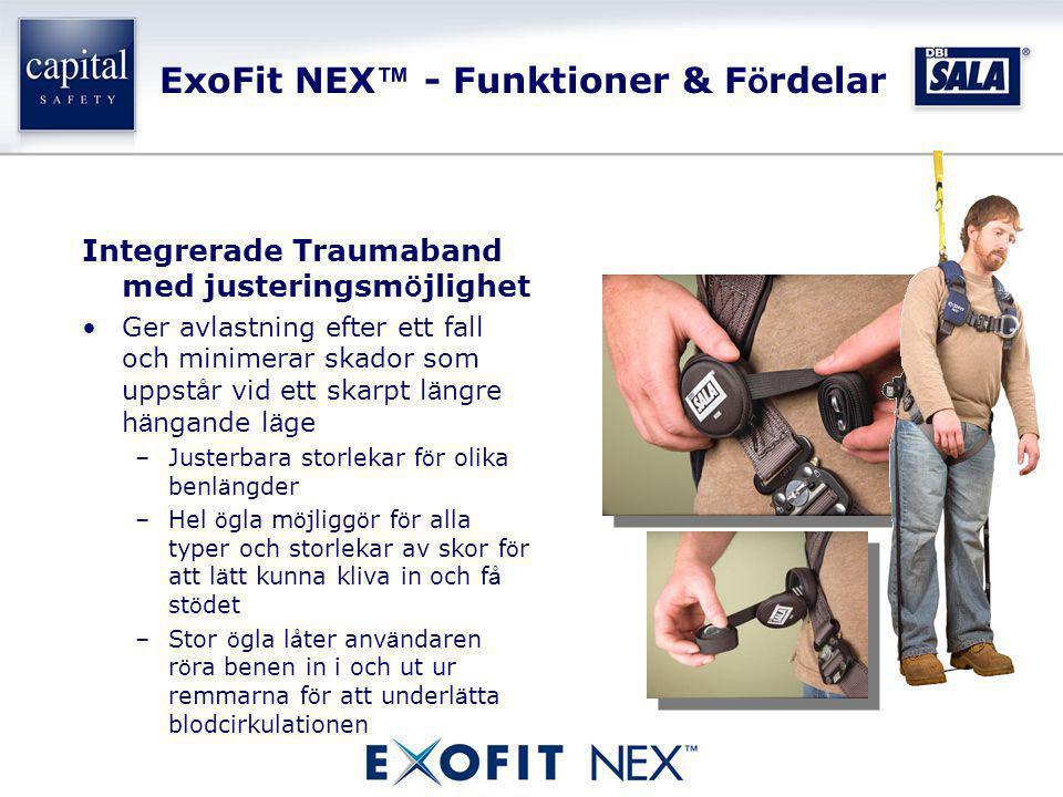 ExoFit NEX ™ - Funktioner & F ö rdelar Integrerade Traumaband med justeringsm ö jlighet •Ger avlastning efter ett fall och minimerar skador som uppst