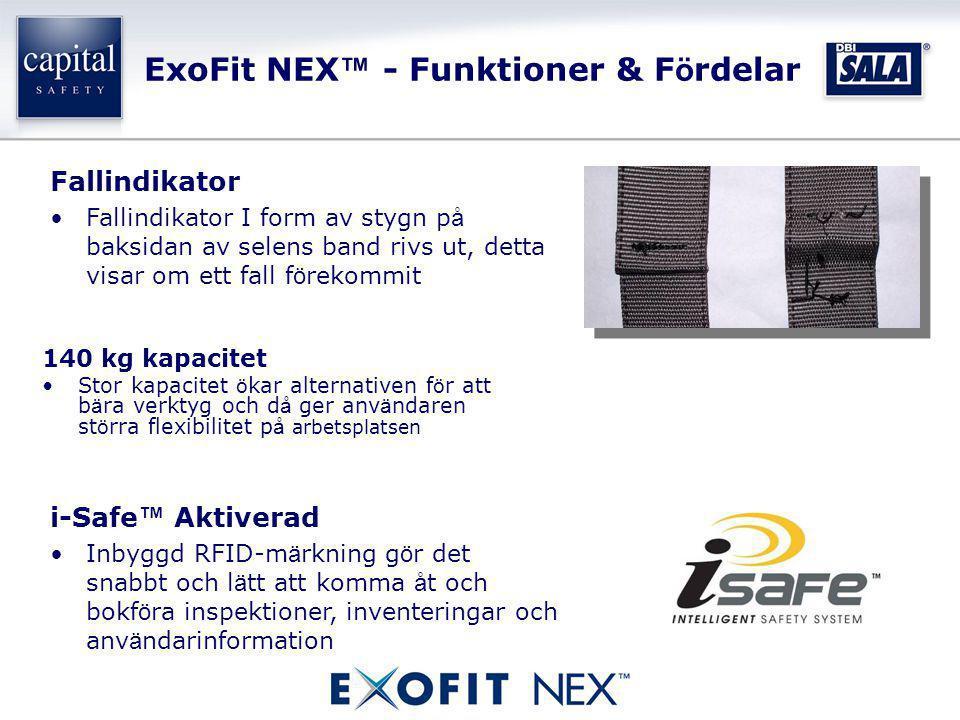 ExoFit NEX ™ - Funktioner & F ö rdelar 140 kg kapacitet •Stor kapacitet ö kar alternativen f ö r att b ä ra verktyg och d å ger anv ä ndaren st ö rra