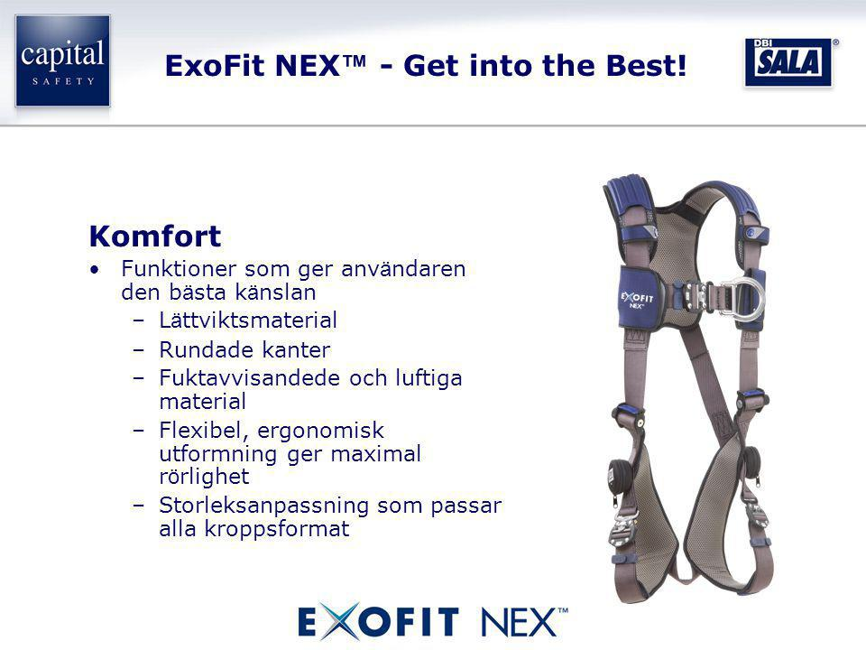ExoFit NEX ™ - Get into the Best! Komfort •Funktioner som ger anv ä ndaren den b ä sta k ä nslan –L ä ttviktsmaterial –Rundade kanter –Fuktavvisandede