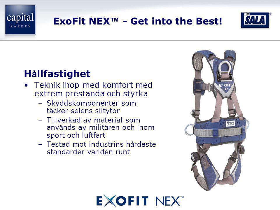 ExoFit NEX ™ - Get into the Best! H å llfastighet •Teknik ihop med komfort med extrem prestanda och styrka –Skyddskomponenter som t ä cker selens slit
