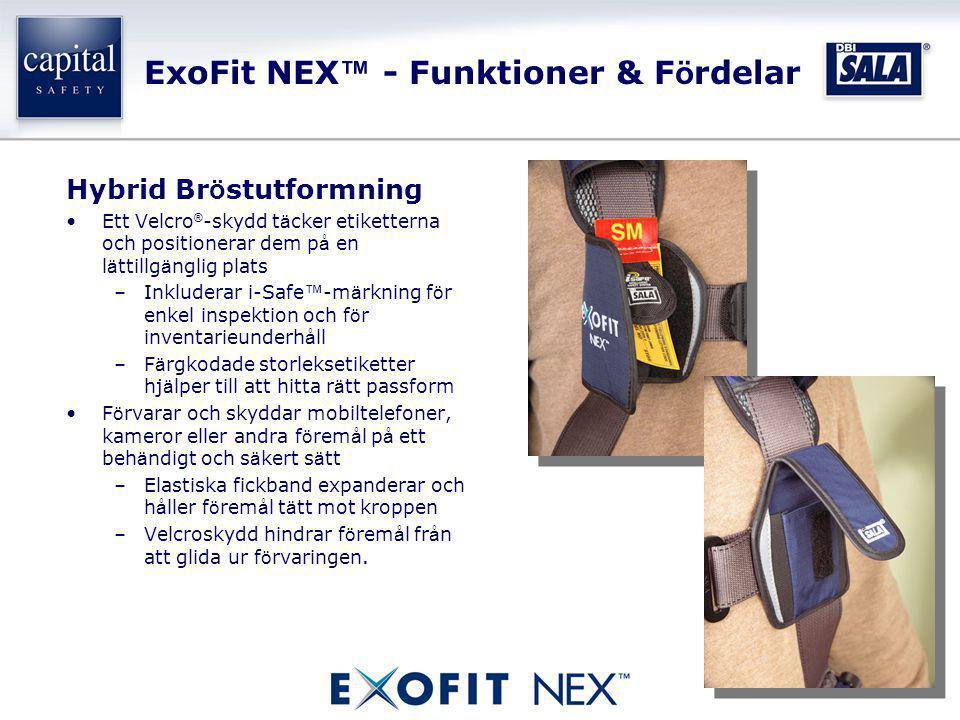 ExoFit NEX ™ - Funktioner & F ö rdelar Hybrid Br ö stutformning •Ett Velcro ® -skydd t ä cker etiketterna och positionerar dem p å en l ä ttillg ä ngl
