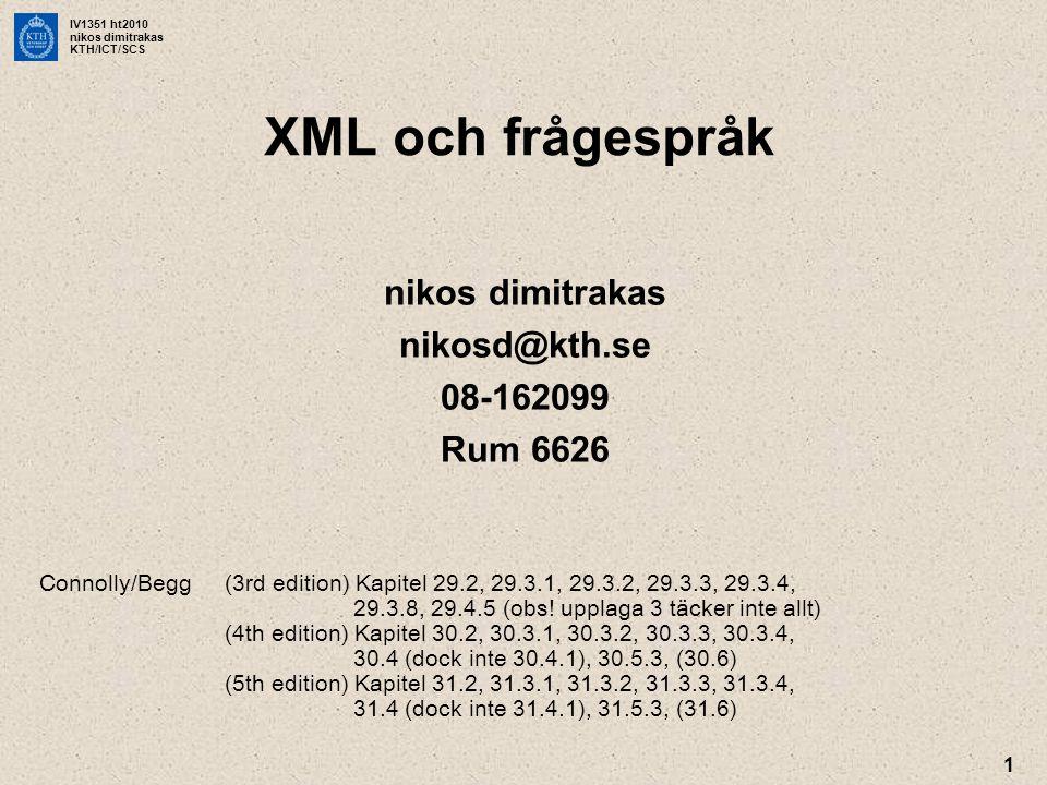 IV1351 ht2010 nikos dimitrakas KTH/ICT/SCS 32 Mer Information •XPath –http://www.w3schools.com/xpath/ •XQuery –http://www.w3schools.com/xquery/ –http://www.stylusstudio.com/xml_tutorial.html