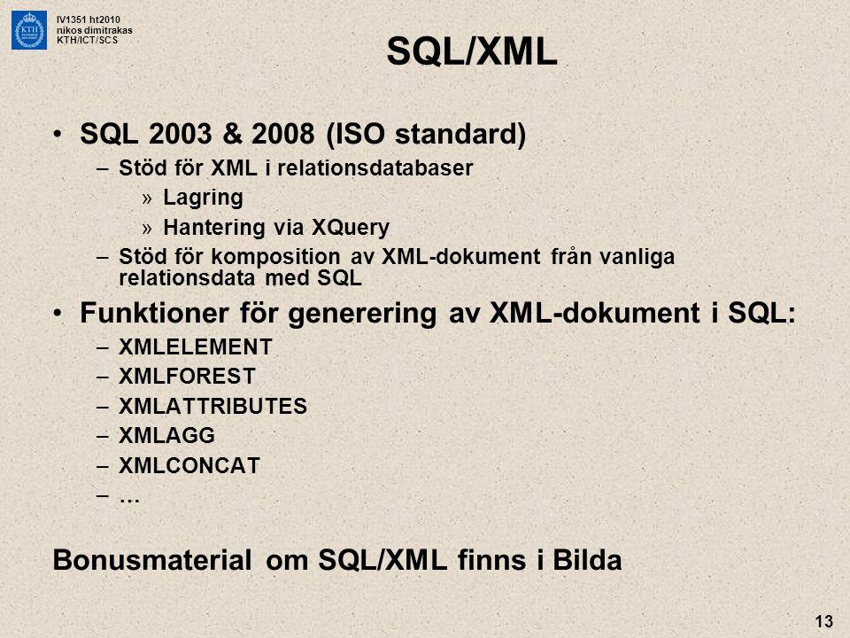 IV1351 ht2010 nikos dimitrakas KTH/ICT/SCS 13 SQL/XML •SQL 2003 & 2008 (ISO standard) –Stöd för XML i relationsdatabaser »Lagring »Hantering via XQuer