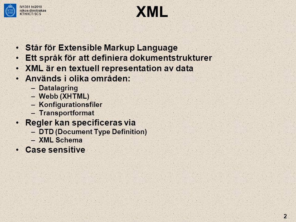 IV1351 ht2010 nikos dimitrakas KTH/ICT/SCS 13 SQL/XML •SQL 2003 & 2008 (ISO standard) –Stöd för XML i relationsdatabaser »Lagring »Hantering via XQuery –Stöd för komposition av XML-dokument från vanliga relationsdata med SQL •Funktioner för generering av XML-dokument i SQL: –XMLELEMENT –XMLFOREST –XMLATTRIBUTES –XMLAGG –XMLCONCAT –… Bonusmaterial om SQL/XML finns i Bilda