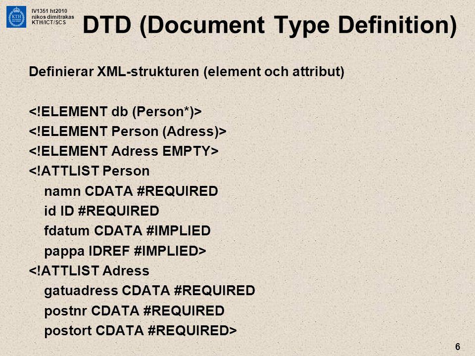 IV1351 ht2010 nikos dimitrakas KTH/ICT/SCS 7 XML Schema •Starkare än DTD –flexiblare strukturer –datatyper •XML-syntax …