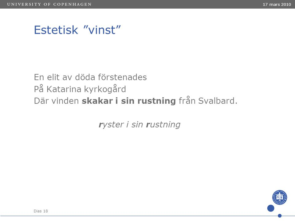Dias 18 17 mars 2010 Estetisk vinst En elit av döda förstenades På Katarina kyrkogård Där vinden skakar i sin rustning från Svalbard.