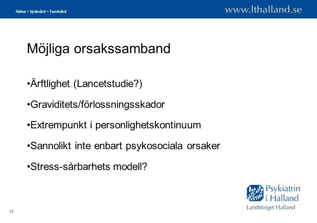 Hälsa • Sjukvård • Tandvård 11 Möjliga orsakssamband •Ärftlighet (Lancetstudie?) •Graviditets/förlossningsskador •Extrempunkt i personlighetskontinuum •Sannolikt inte enbart psykosociala orsaker •Stress-sårbarhets modell?