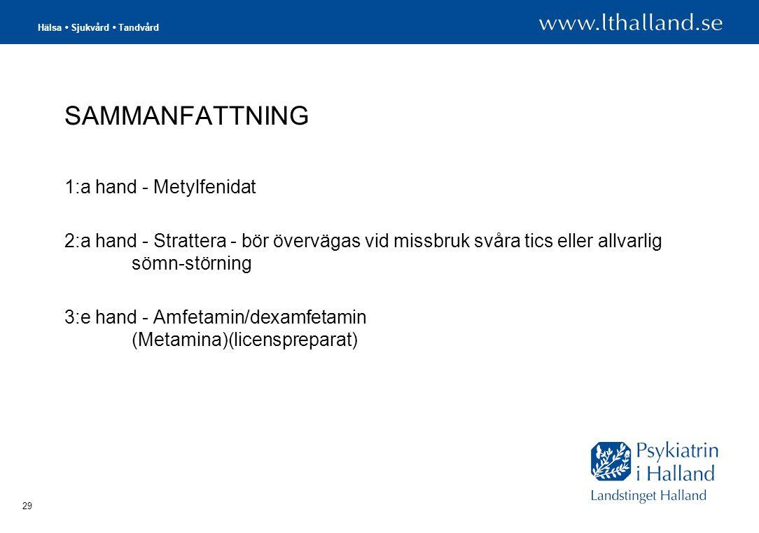 Hälsa • Sjukvård • Tandvård 29 SAMMANFATTNING 1:a hand - Metylfenidat 2:a hand - Strattera - bör övervägas vid missbruk svåra tics eller allvarlig sömn-störning 3:e hand - Amfetamin/dexamfetamin (Metamina)(licenspreparat)