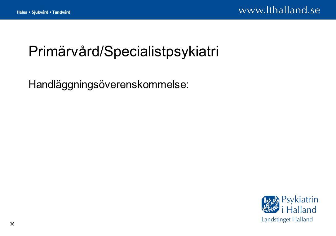 Hälsa • Sjukvård • Tandvård 36 Primärvård/Specialistpsykiatri Handläggningsöverenskommelse:
