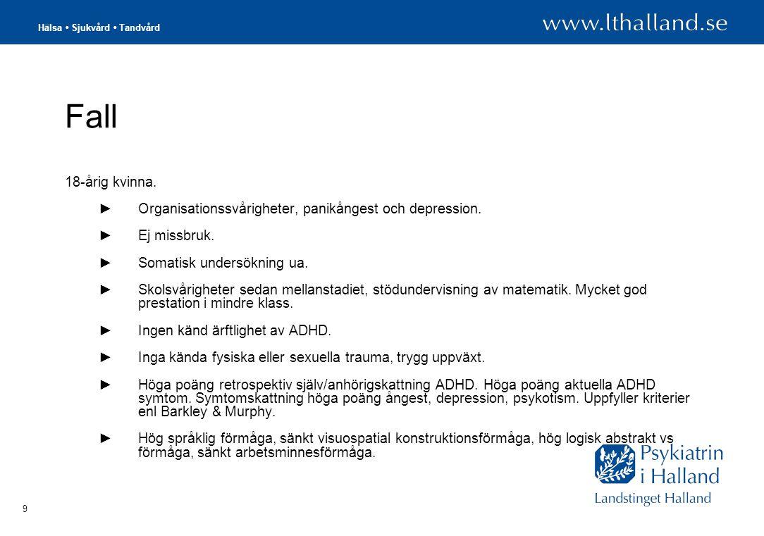 Hälsa • Sjukvård • Tandvård 30 KI/BIVERKNINGAR/ INTERAKTIONER METYLFENIDAT (CONCERTA M FL) KI- glaukom med trång hammarvinkel - feokromocytom - samtidig behandling med MAO-hämmare - hypertyreos - obehandlad psykiatrisk sjukdom/störning - kardiovaskulära sjukdom - cerebralvaskulära rubbningar