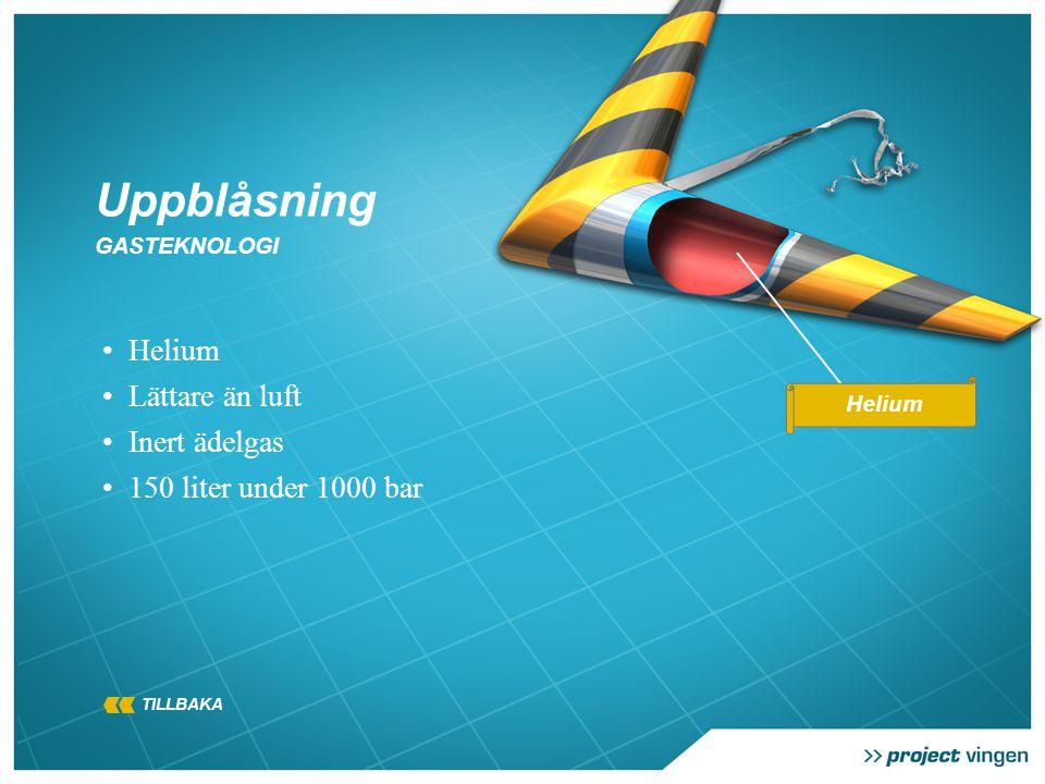 Uppblåsning GASTEKNOLOGI • Helium • Lättare än luft • Inert ädelgas • 150 liter under 1000 bar Helium TILLBAKA