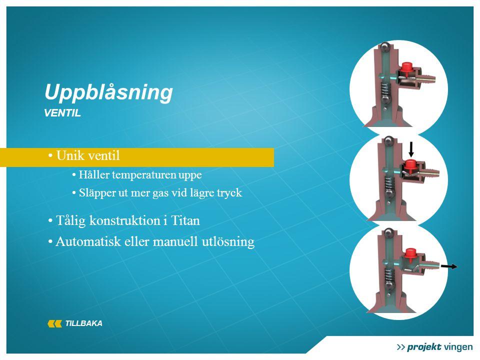 • Unik ventil • Håller temperaturen uppe • Släpper ut mer gas vid lägre tryck • Tålig konstruktion i Titan • Automatisk eller manuell utlösning Uppblåsning VENTIL TILLBAKA