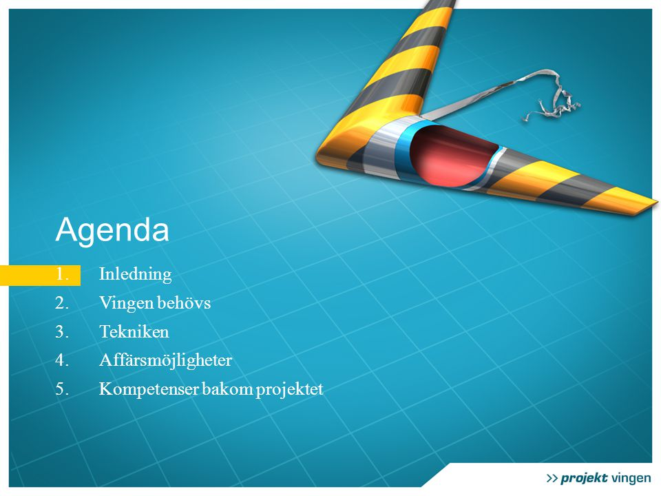 Agenda 1.Inledning 2.Vingen behövs 3.Tekniken 4.Affärsmöjligheter 5.Kompetenser bakom projektet
