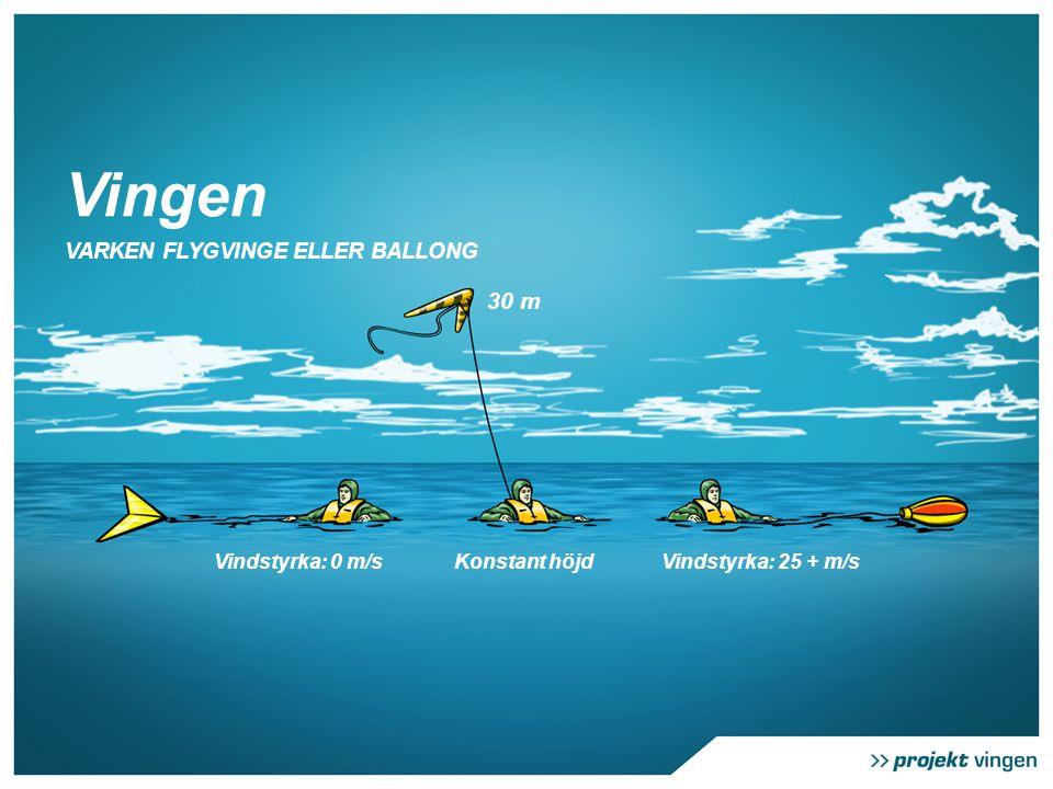 Vingen VARKEN FLYGVINGE ELLER BALLONG Vindstyrka: 25 + m/sVindstyrka: 0 m/sKonstant höjd 30 m