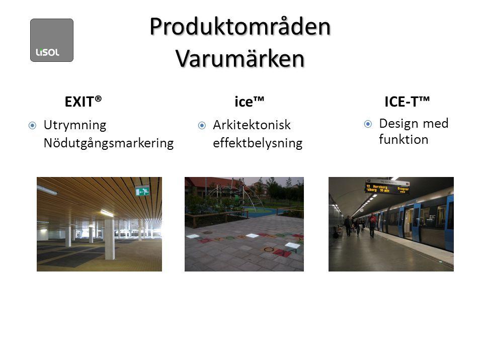 Produktområden Varumärken EXIT® ice™ ICE-T™  Design med funktion  Utrymning Nödutgångsmarkering  Arkitektonisk effektbelysning