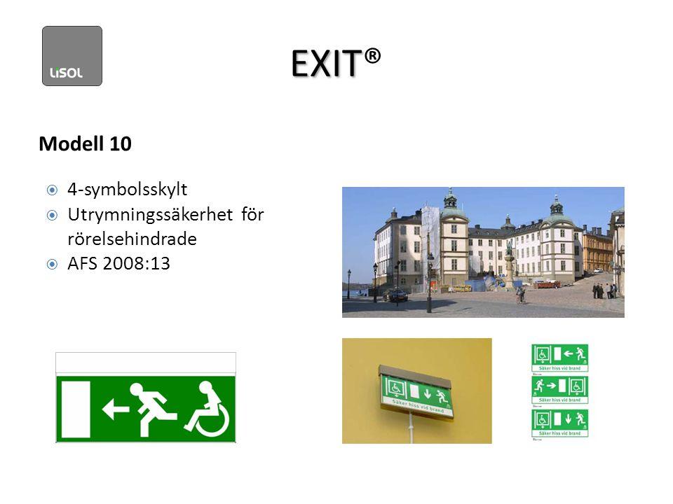 EXIT EXIT® Modell 10  4-symbolsskylt  Utrymningssäkerhet för rörelsehindrade  AFS 2008:13