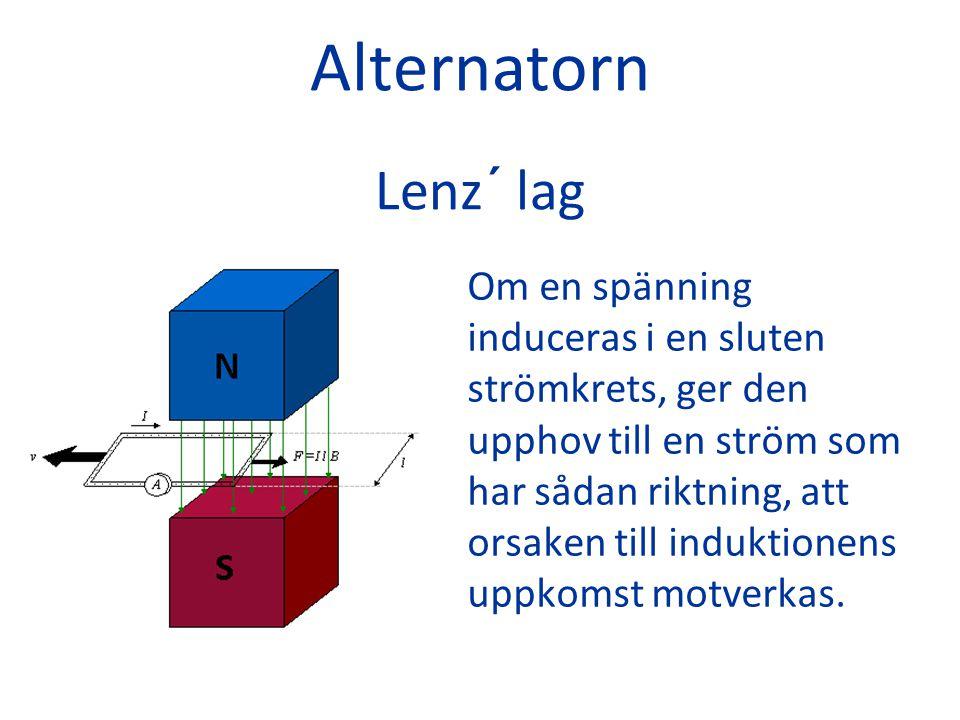 Alternatorn Lenz´ lag Om en spänning induceras i en sluten strömkrets, ger den upphov till en ström som har sådan riktning, att orsaken till induktion