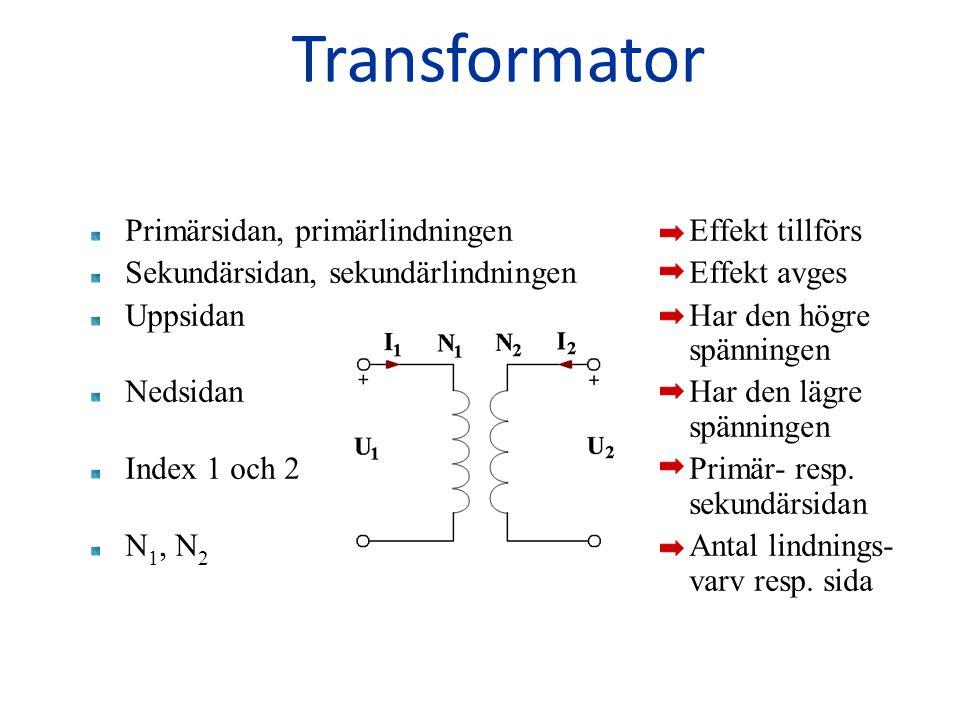 Primärsidan, primärlindningen Effekt tillförs Sekundärsidan, sekundärlindningen Effekt avges Uppsidan Har den högre spänningen Nedsidan Har den lägre