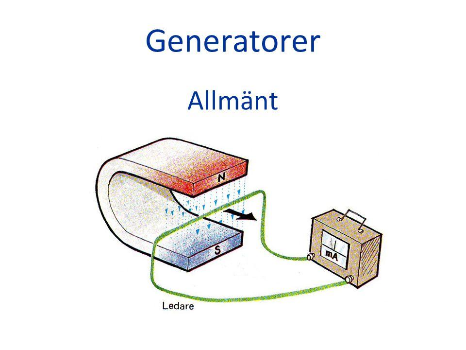 Alternatorn Lenz´ lag Om en spänning induceras i en sluten strömkrets, ger den upphov till en ström som har sådan riktning, att orsaken till induktionens uppkomst motverkas.