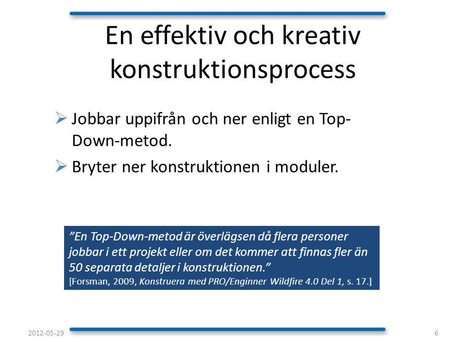 """ Jobbar uppifrån och ner enligt en Top- Down-metod.  Bryter ner konstruktionen i moduler. En effektiv och kreativ konstruktionsprocess """"En Top-Down-"""