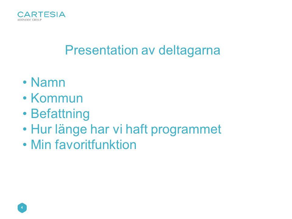 4 • Namn • Kommun • Befattning • Hur länge har vi haft programmet • Min favoritfunktion Presentation av deltagarna