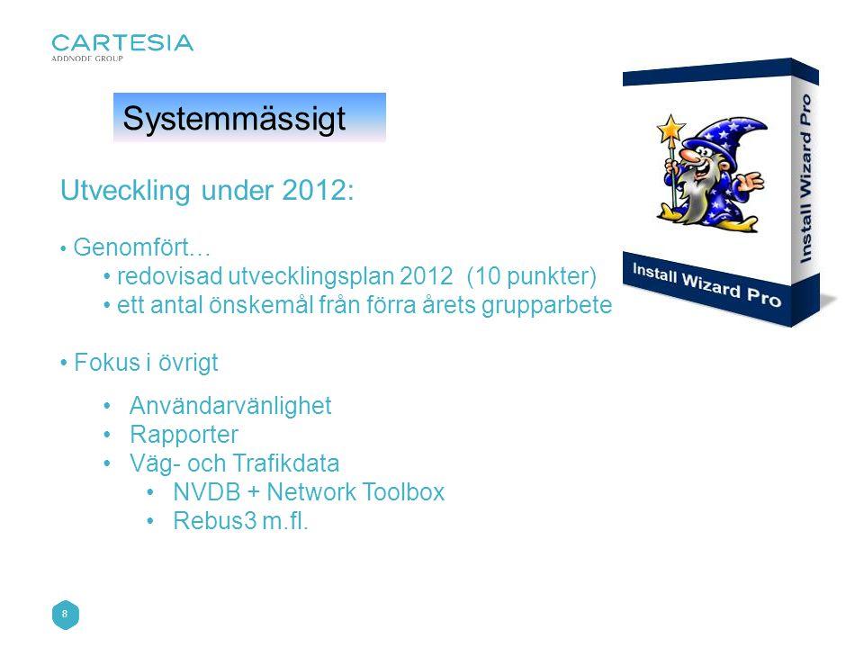 8 Systemmässigt Utveckling under 2012: • Genomfört… • redovisad utvecklingsplan 2012 (10 punkter) • ett antal önskemål från förra årets grupparbete • Fokus i övrigt •Användarvänlighet •Rapporter •Väg- och Trafikdata •NVDB + Network Toolbox •Rebus3 m.fl.