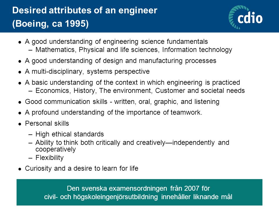 Desired attributes of an engineer (Boeing, ca 1995)  A good understanding of engineering science fundamentals –Mathematics, Physical and life science