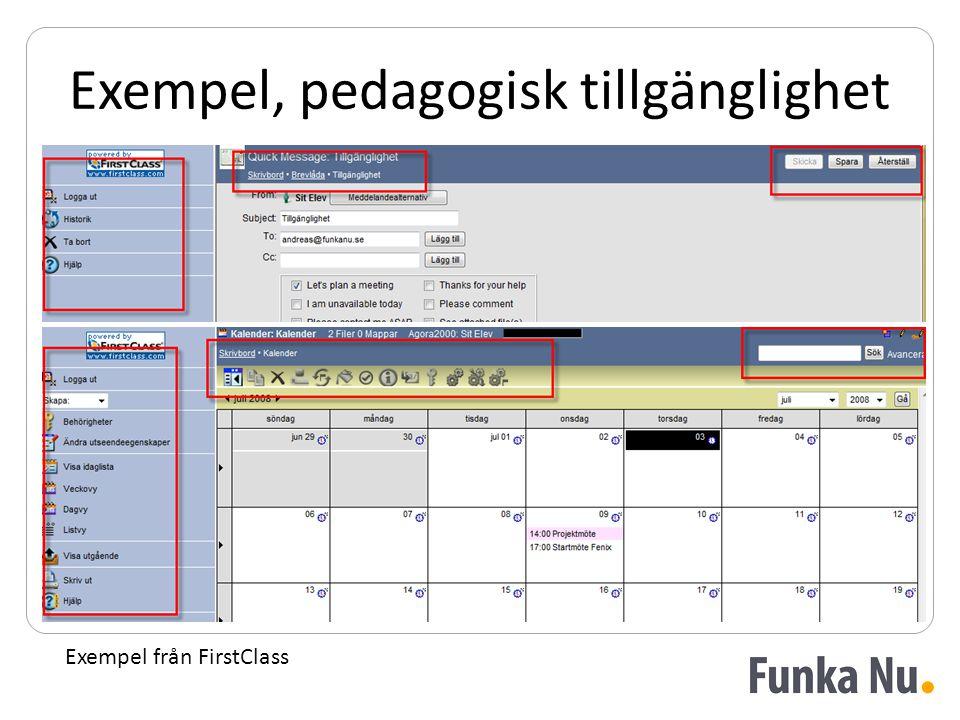 Exempel, pedagogisk tillgänglighet Exempel från FirstClass