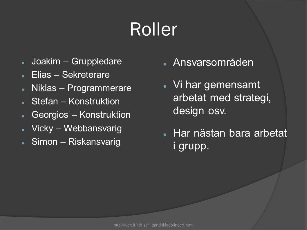 Roller  Joakim – Gruppledare  Elias – Sekreterare  Niklas – Programmerare  Stefan – Konstruktion  Georgios – Konstruktion  Vicky – Webbansvarig