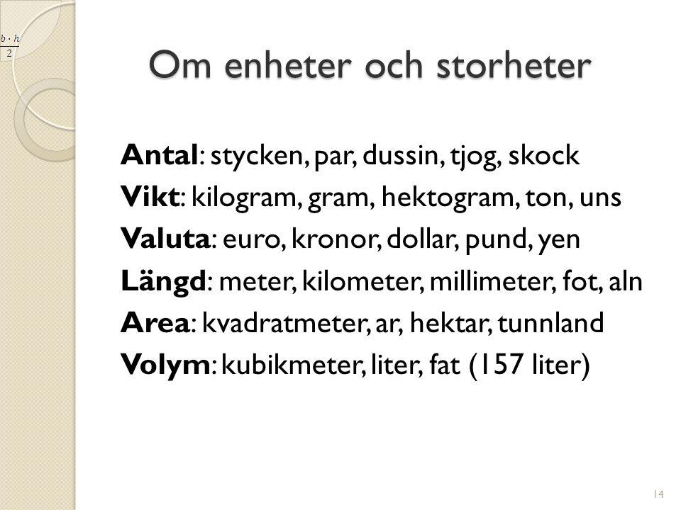Om enheter och storheter Om enheter och storheter Antal: stycken, par, dussin, tjog, skock Vikt: kilogram, gram, hektogram, ton, uns Valuta: euro, kro