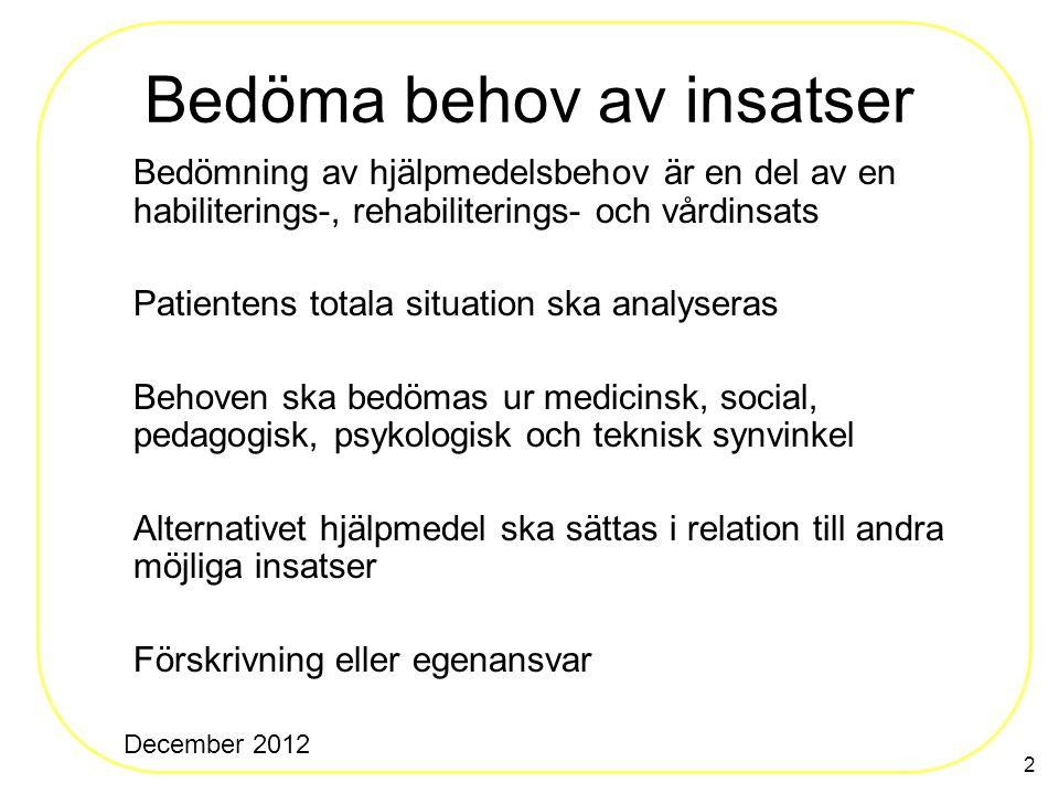 2 Bedöma behov av insatser Bedömning av hjälpmedelsbehov är en del av en habiliterings-, rehabiliterings- och vårdinsats Patientens totala situation s