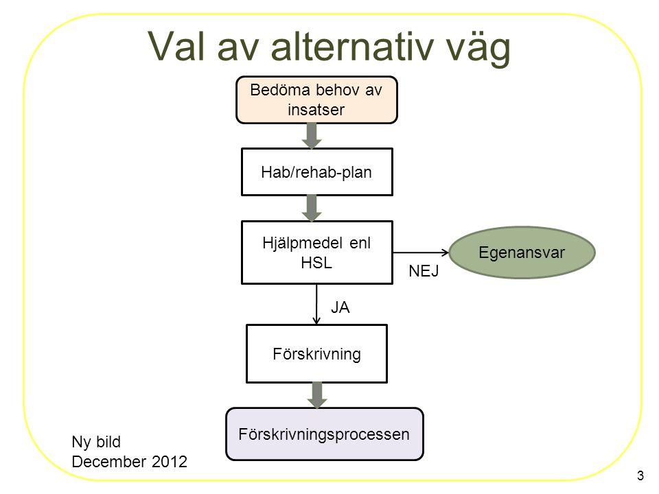 Val av alternativ väg 3 Bedöma behov av insatser Hab/rehab-plan Hjälpmedel enl HSL Egenansvar Förskrivning Förskrivningsprocessen JA NEJ Ny bild December 2012