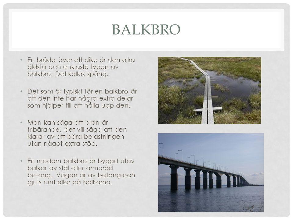 BALKBRO • En bräda över ett dike är den allra äldsta och enklaste typen av balkbro. Det kallas spång. • Det som är typiskt för en balkbro är att den i