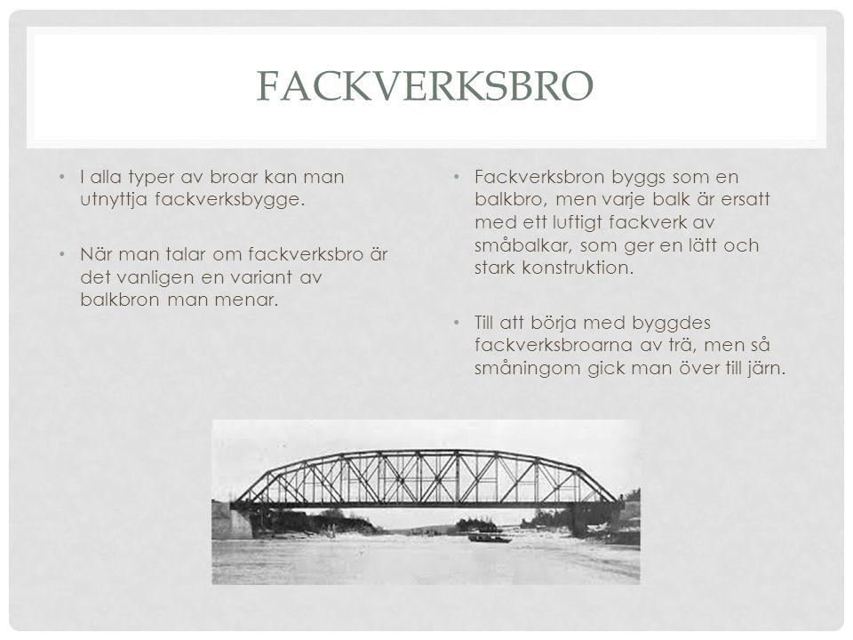 FACKVERKSBRO • I alla typer av broar kan man utnyttja fackverksbygge. • När man talar om fackverksbro är det vanligen en variant av balkbron man menar