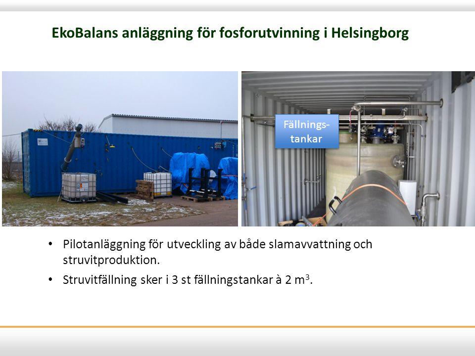 EkoBalans anläggning för fosforutvinning i Helsingborg Fällnings- tankar • Pilotanläggning för utveckling av både slamavvattning och struvitproduktion