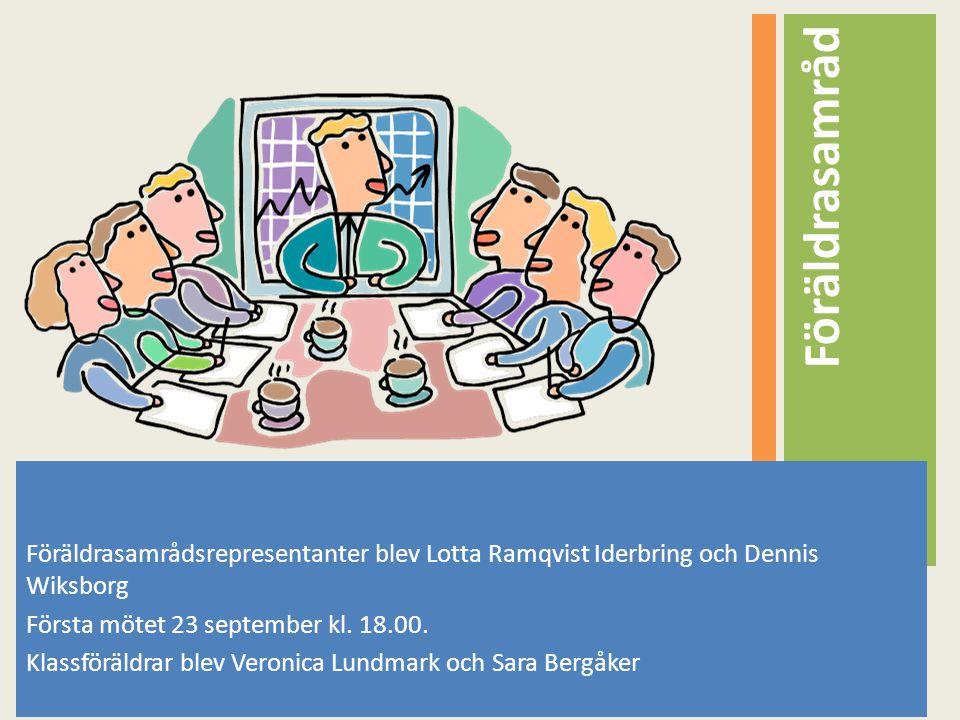 Föräldrasamrådsrepresentanter blev Lotta Ramqvist Iderbring och Dennis Wiksborg Första mötet 23 september kl. 18.00. Klassföräldrar blev Veronica Lund