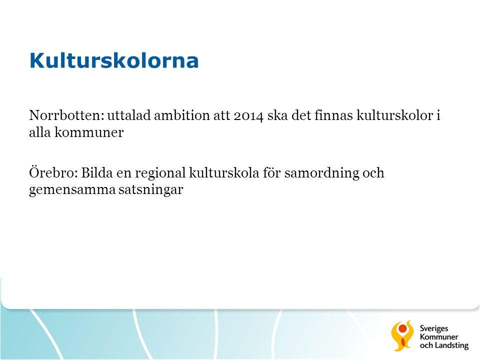 Kulturskolorna Norrbotten: uttalad ambition att 2014 ska det finnas kulturskolor i alla kommuner Örebro: Bilda en regional kulturskola för samordning och gemensamma satsningar