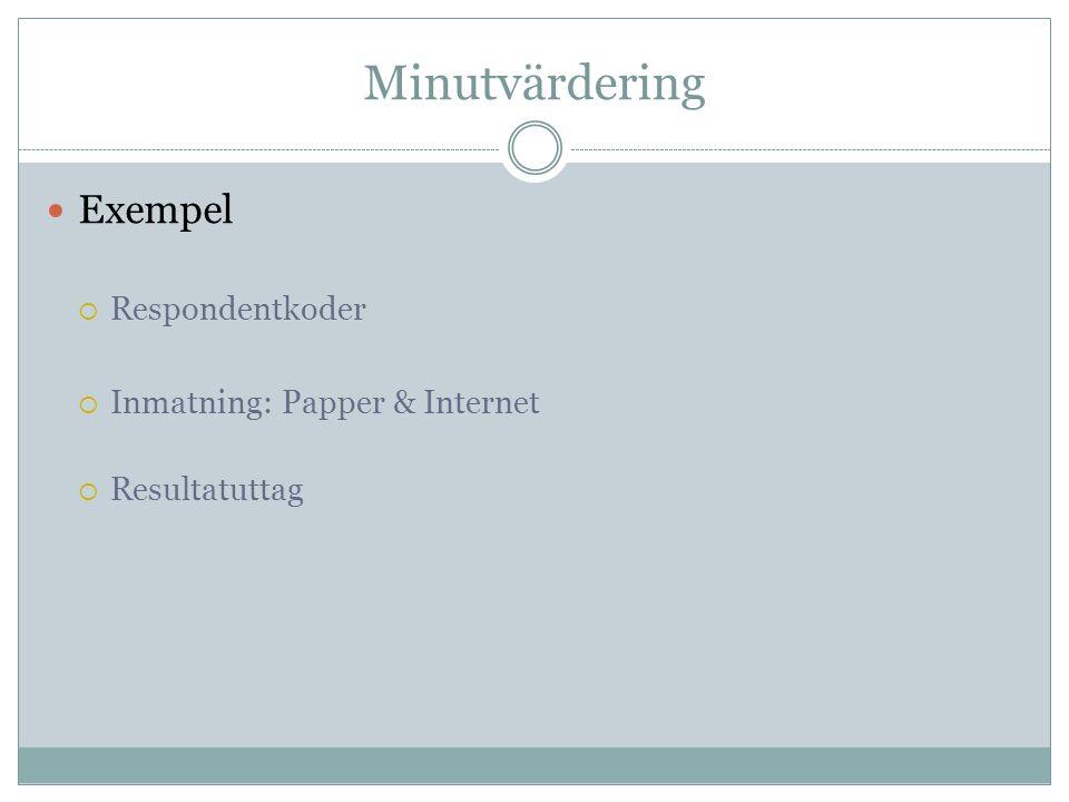 Minutvärdering  Exempel  Respondentkoder  Inmatning: Papper & Internet  Resultatuttag