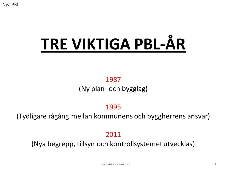 Sven-Åke Sonesson1 TRE VIKTIGA PBL-ÅR 1987 (Ny plan- och bygglag) 1995 (Tydligare rågång mellan kommunens och byggherrens ansvar) 2011 (Nya begrepp, t