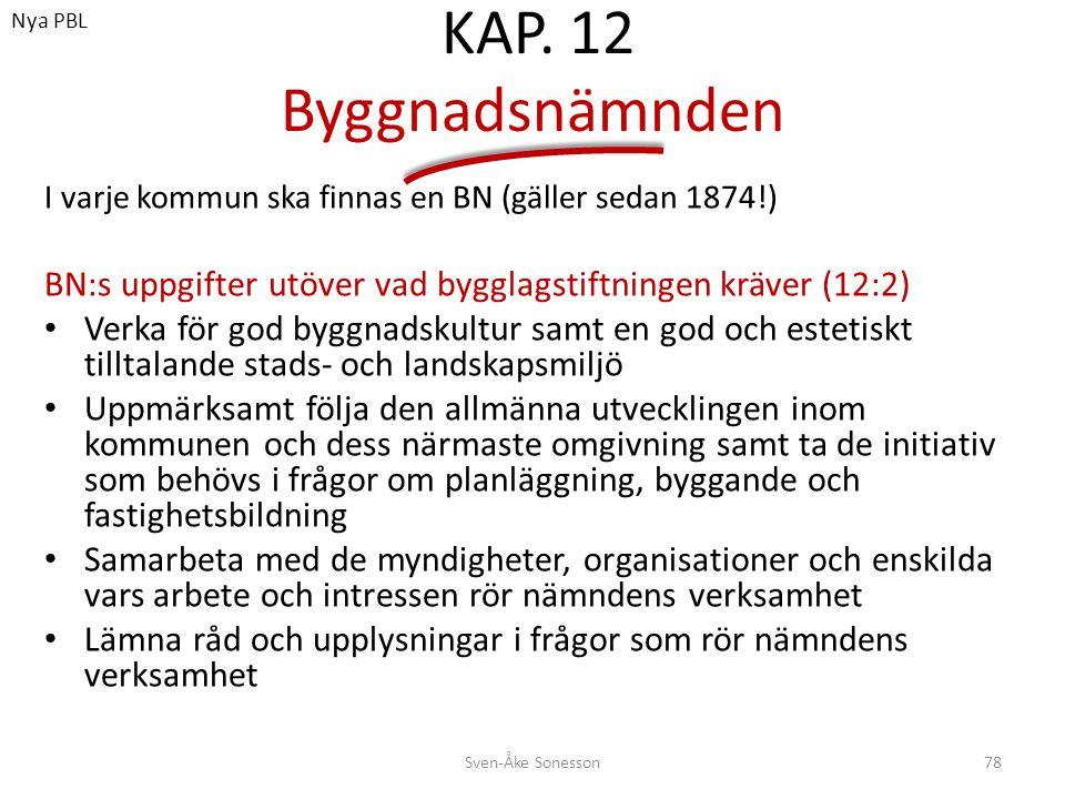 KAP. 12 Byggnadsnämnden I varje kommun ska finnas en BN (gäller sedan 1874!) BN:s uppgifter utöver vad bygglagstiftningen kräver (12:2) • Verka för go
