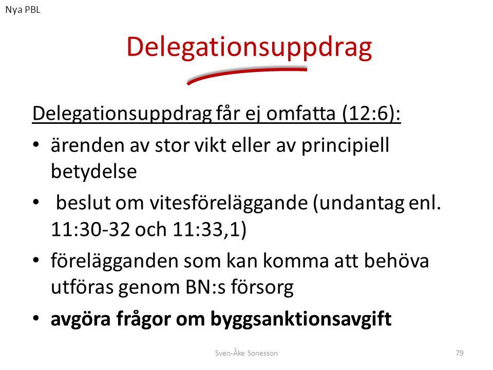 Delegationsuppdrag Delegationsuppdrag får ej omfatta (12:6): • ärenden av stor vikt eller av principiell betydelse • beslut om vitesföreläggande (unda
